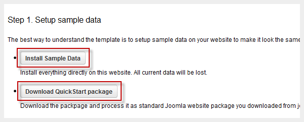 Download sample data package